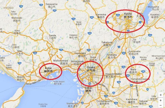 Kansai Bölgesi Şehirlerin Konumları