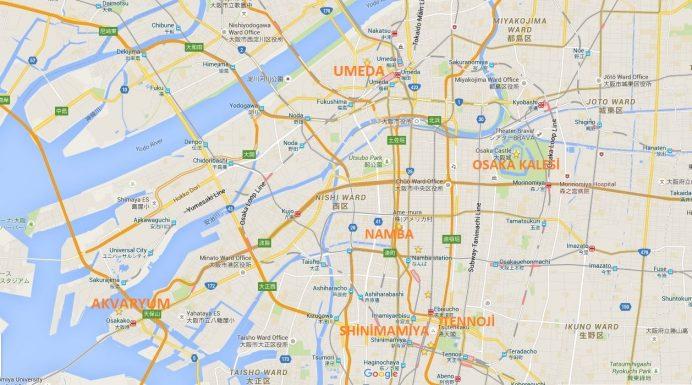 Osaka Şehir Haritası-Bölgeler