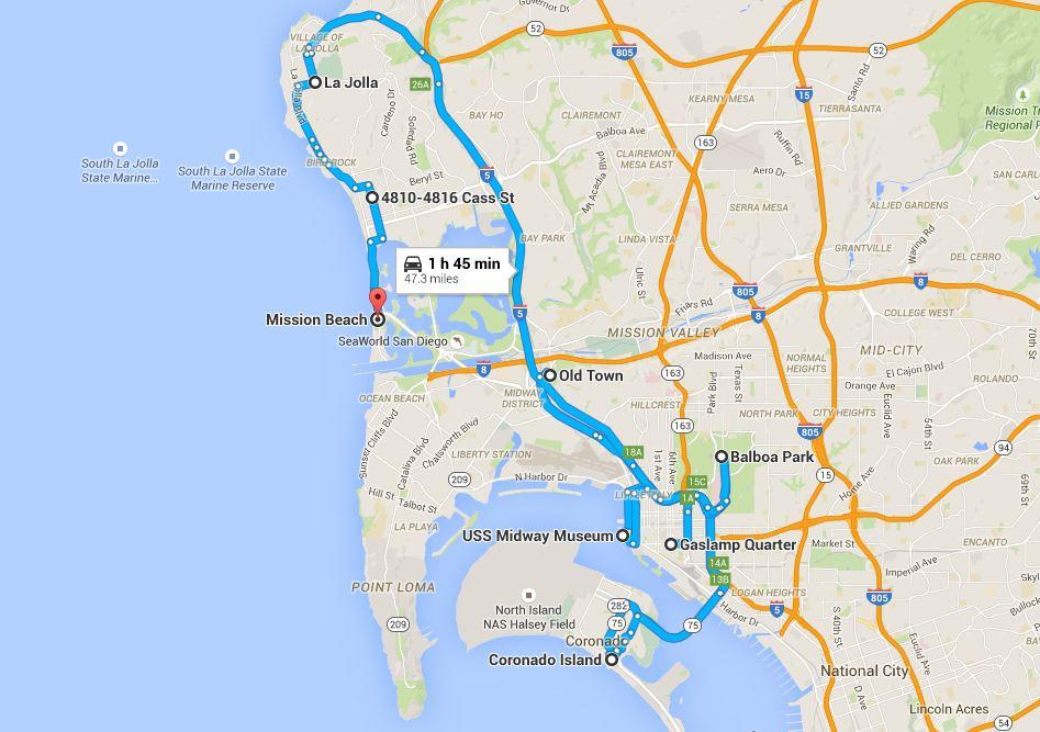San Diego'da Gezilecek Yerlerin Şehirdeki Tahmini Konumları