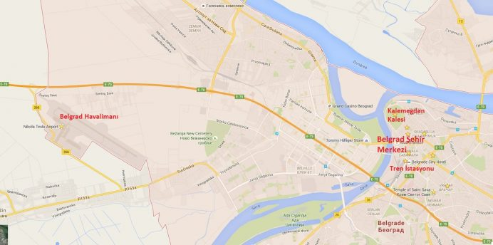 Belgrad Haritası- Havalimanı-Şehir Merkezi-Tren İstasyonu