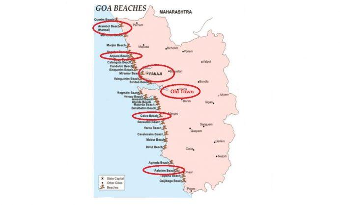 Goa Gezilecek Yerlerin Haritası