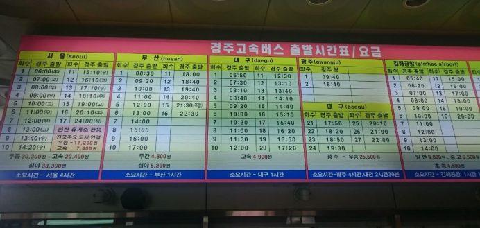 Gyeongju_Otobüs_Terminali_Şehirlerarası_Otobüs_Saatleri