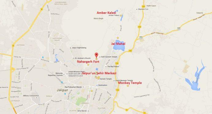 Jaipur'da Gezilecek Yerlerin Haritadaki Konumları