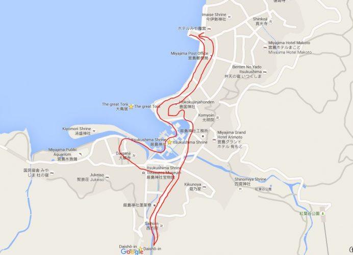 Miyajima'da Gezilecek Yerlerin Rotası
