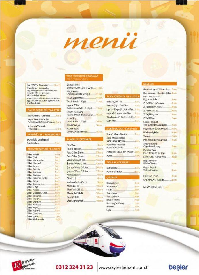 Doğu ekspresinde yemek fiyatları listesi
