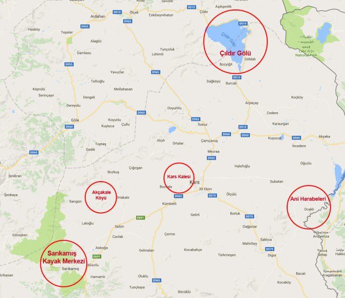 kars - gezilecek - yerler - harita