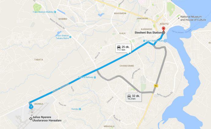 Darüsselam Havalimanı ile şehir merkezi arasında kullanacağınız rota.