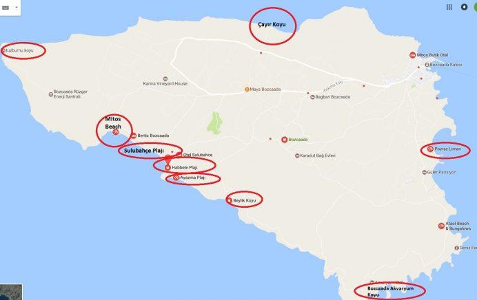 Bozcaada-plajları-koyları-haritası
