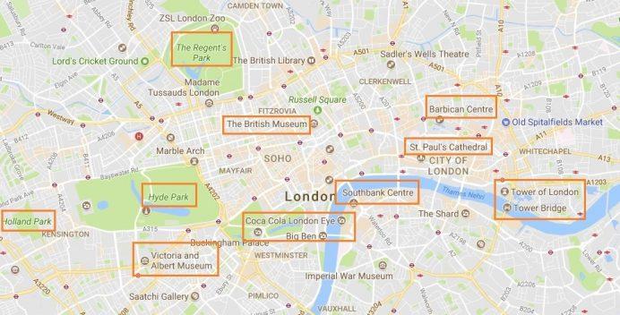 londra - gezilecek - yerler - haritası