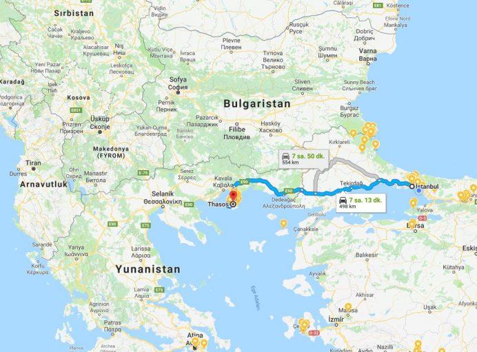 Thassos-Adası-İstanbul-Ulaşım