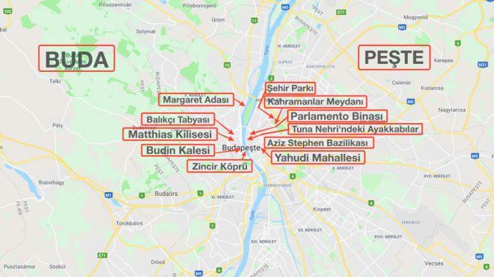 budapeste_gezilecek_yerler_harita