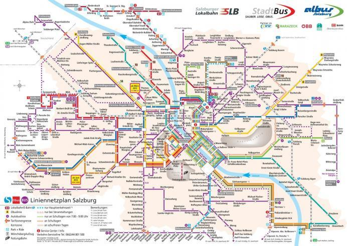 Salzburg Otobüs Ağı Haritası