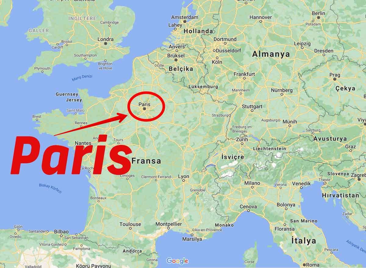paris nerede harita