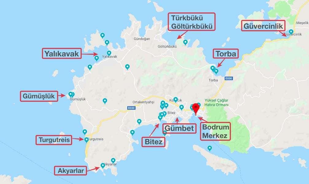 Bodrum gezilecek yerler harita