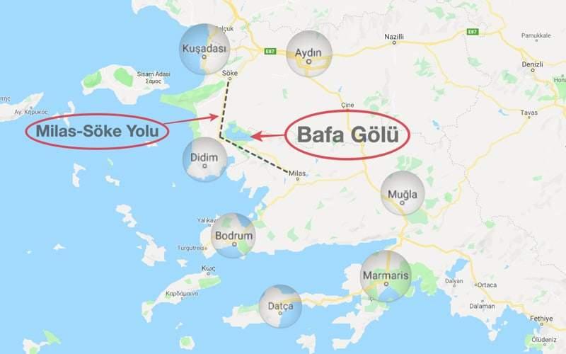 Bafa Gölü nerede - harita