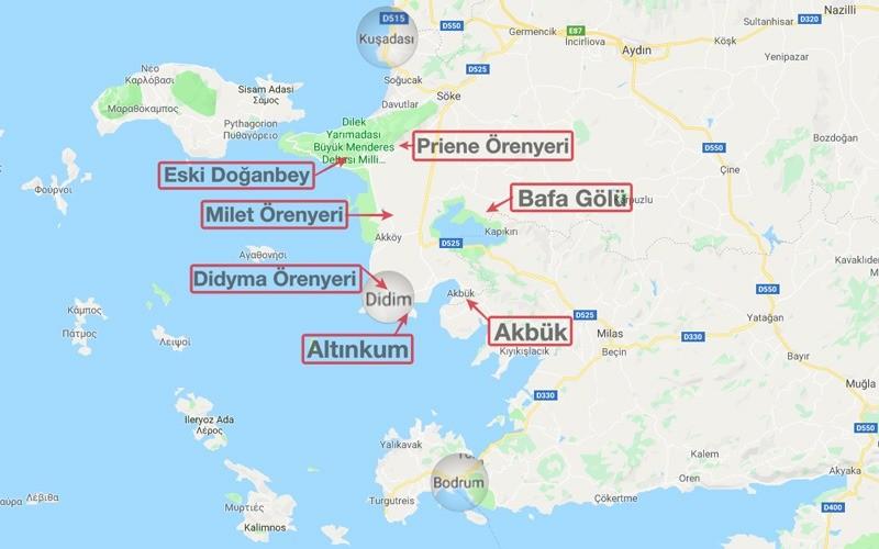 Didim gezilecek yerler haritası